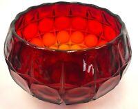 Vintage 1960 Art Deco Square Cut Art Glass Dot Sunburst Red Gold Candy Dish Bowl