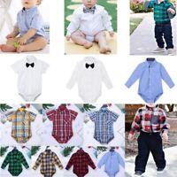 Baby Boy Girls Birthday Romper Bodysuit Newborn Formal Dress Shirt Party Outfit