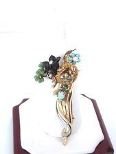 Vintage 14k Yellow Gold Enamel Gemstone Floral Brooch Pin * GAL Appraisal