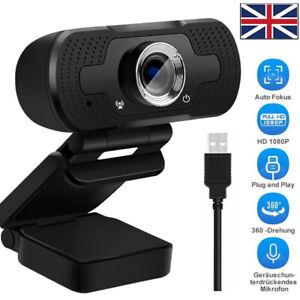Autofocus 1080P HD Webcam USB Web Camera Microphone For PC Desktop Laptop Mic UK