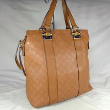 Authentic Rare Gucci Bamboo Tan Brown Guccissima GG Leather Large Tote Handbag