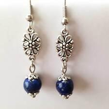 Bijoux pierre naturelle Boucles d'oreilles filigramme et perle lapis lazuli