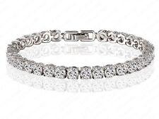 Tennis Bracelet Platinum Plated Cubic Zirconia Bangle Austrian  Crystal 18 cm