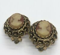 Vintage Earrings Clip On Cameo Gold Tone Pat Pend 1960s