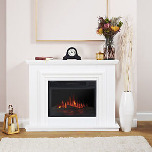 Crystal Pure White Remote Control Electric Fire Suite