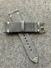 20mm Quick Release Dark Gray Grey Leather Watch Strap Band US Shipped