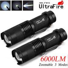2x 6000 Lumens UltraFire Tactical T6 LED Adjustable Focus Zoom Flashlight Torch
