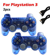 2x Wireless Game Controllers For Sony PS3 Playstation 3 Transparent Blue
