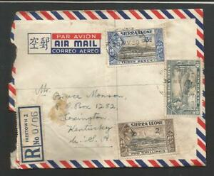 Sierra Leone#177,180 &182 used on Commercial Registered 1950 Cover to USA