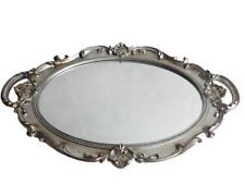 Decorative Mirror Tray For Perfume Organizer Jewelry Dresser and Display Silver