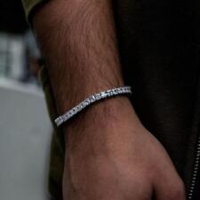 14k White Gold Over Princess Cut Diamond Men's Tennis Bracelet 7.10Ct