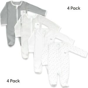 Baby Sleepsuits for Boys and Girls - Pack of 4 Unisex pyjamas in white and grey