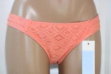 NEW ROXY Base Girl Diamonds Lace Coral Hipster Bikini Swim Bottom L Large