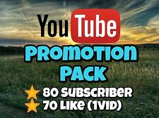 YouTube Subscribers[80],Likes[70]-YouTube starter Pack-Promotion !BEST OFFER!