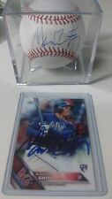 Mallex Smith Signed Baseball Official MLB + 2016 Topps Chrome RC Auto Rays Brave