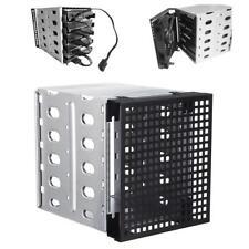 "5.25"" to 5x 3.5"" SATA SAS HDD Cage Rack Hard Driver Tray Caddy with Fan Space"