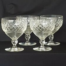 Large Cut Crystal Wine Glasses, Goblets, Set Of 4, Art Deco.