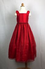 BONNIE JEAN Girls Red Beaded Tulle Christmas Holiday Dress Sz 8 |PipRose
