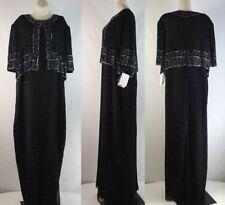 Laurence Kazar Beaded Maxi Dress Sz 3X Women's Iridescent Black Formal Hand Done
