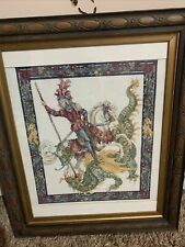More details for vintage hand embroidered george and the dragon picture