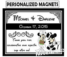 75 Disney MICKEY & MINNIE WEDDING FAVORS MAGNETS ~ PERSONALIZED