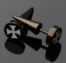 2 unidades Fake Plug expansor para oreja motivo: cruz ywyb 122