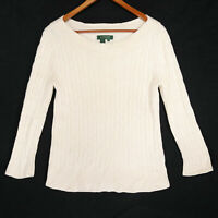 Lauren Ralph Lauren Women's Beige LRL Silk Blend Cable Knit Sweater Size Medium