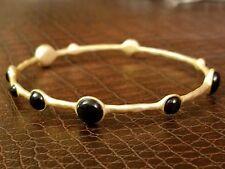 "Gold over Brass Slip-on Bangle w/ Onyx Stones size 8"" Artisan Design Bracelet"