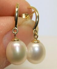 9CT PEARL DROP EARRINGS 9 CARAT YELLOW GOLD STUD EARRINGS