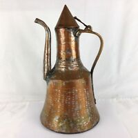 Vintage Hammered Copper Tin Pitcher Coffee Pot Water Jug Brass Handle Lidded 13""