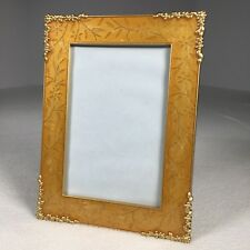 """Frame Gold Color Flower Designs Metal Glass Front 3.75""""x 5.75"""" View 7.75"""" Tall"""