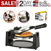 Belgian Waffle Maker Rotating Non-Stick Polished Stainless Steel Classic Easy US