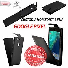 CUSTODIA VERTICAL FLIP COVER CASE ECO PELLE NERO per GOOGLE PIXEL