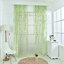 Willow Twigs Voile Sheer Door Window Curtain Drape Green Purple Blue Wall Decor