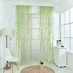 Willow Twigs Voile Sheer Door Window Curtain Drape Green Wall Decor