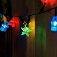 5/10m Solar Power Outdoor Garden LED Star Fairy String Lights
