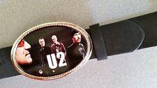 U2 Rock Epoxy Photo Music Belt Buckle & Black Bonded Leather Belt