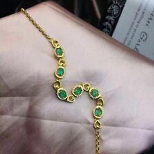Certified Natural Emerald Bracelet 925 Sterling Silver Golden Women Gift