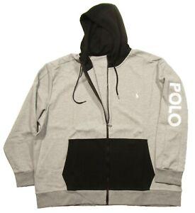 Polo Ralph Lauren Performance Big & Tall Men's Grey/Black Double Knit Zip Hoodie
