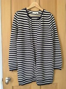 Ladies long-line Boden blue and white cardigan, size S.