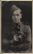 WW2 soldier Pte L Penfold Desert Rat ? wears Africa Star ribbon smokes cigarette