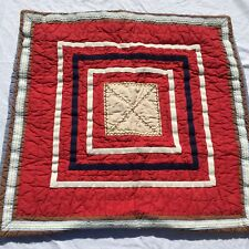 "Red Blue Square Patchwork Pillow Sham Pottery Barn Kids 26"" x 26"""