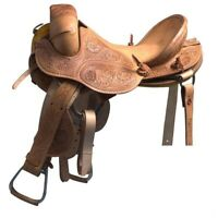 "Western Natural Leather Hand Tooled strip Down Bronc Saddle :12"" 13"",14"" 15"" 16"""