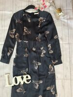 Whistles Size 12 black bee print 100% silk long sleeve belted dress occasion
