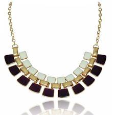 Women's Statement Purple & Cream Necklace Enamel Jewellery Gold Tone Fashion