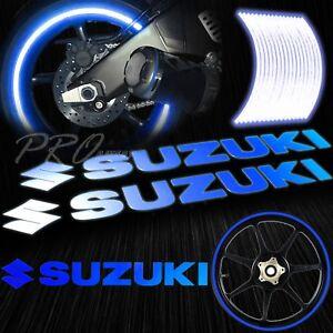 "8"" Reflective Logo Decal+16""17""18"" F+R Rim Tape/Wheel Stripe Sticker Suzuki Blue"
