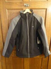 Hind Men Small Microfleece Lined Full Zip Black & Gray Soft Shell Jacket