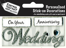 Silver Wedding Anniversary DIY Greeting Card Toppers Personalise Cards Yourself
