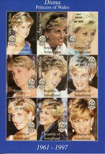 Somaliland Royalty Stamps 1998 MNH Princess Diana of Wales Memorial 9v M/S