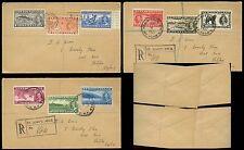 NEWFOUNDLAND KG6 1937 EXTRA CORONATION ISSUE SET on REGISTERED COVERS FU